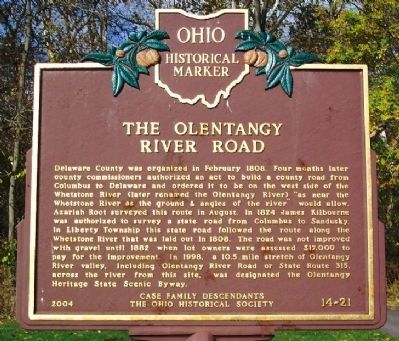 The Olentangy River Road Marker (side B) image. Click for full size.