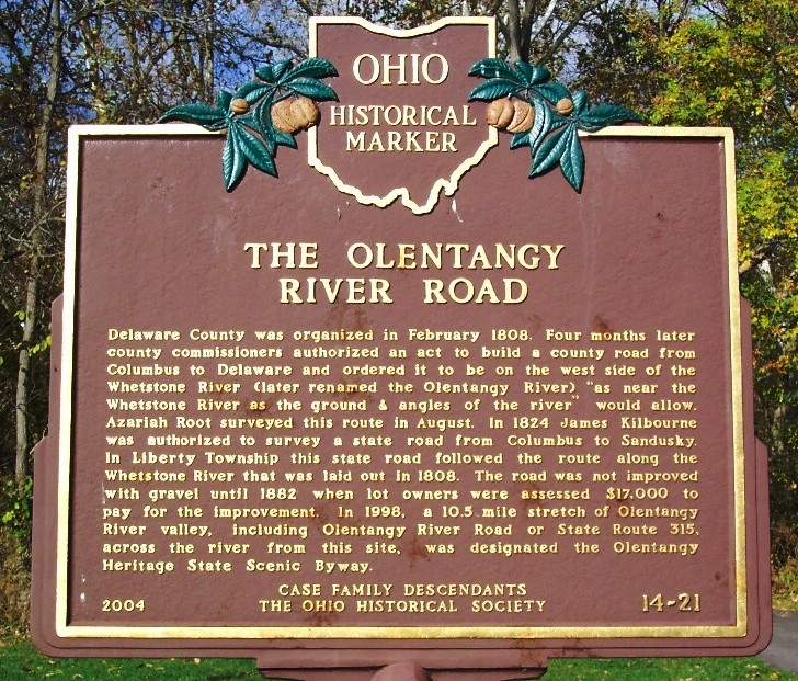 The Olentangy River Road Marker (side B)