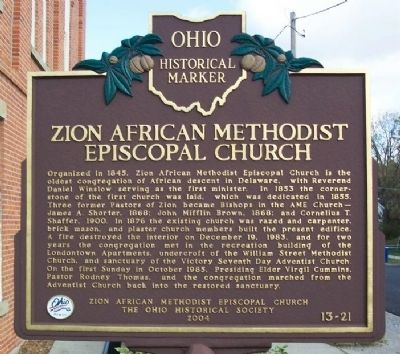 Zion African Methodist Episcopal Church Marker image. Click for full size.