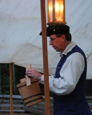 Barrel-maker Demonstrating his Craft -<br>2008 Ninety Six Battlefield Candle Light Tour image. Click for full size.