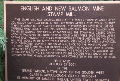 English and New Salmon Mine Stamp Mill Marker image. Click for full size.