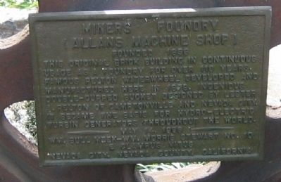 Miners Foundry – Allans Machine Shop Marker image. Click for full size.
