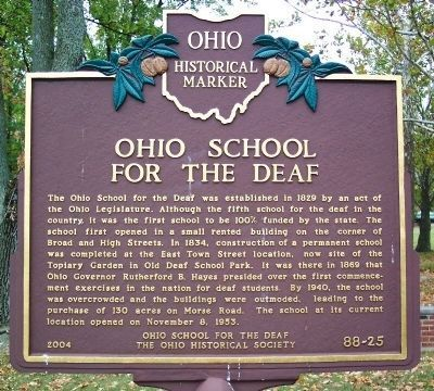 Ohio School for the Deaf Marker image. Click for full size.