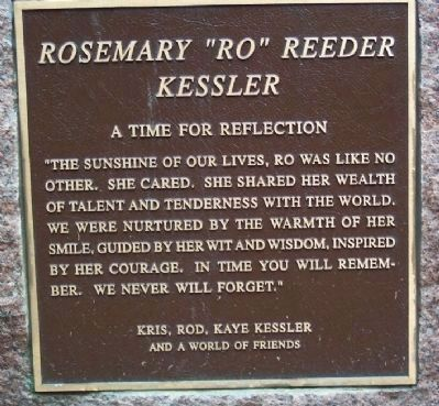 "Rosemary ""Ro"" Reeder Kessler Plaque image. Click for full size."