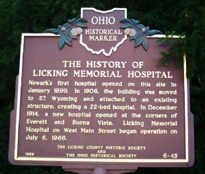 The History of Licking Memorial Hospital Marker image. Click for full size.