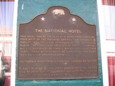 The National Hotel Marker image. Click for full size.