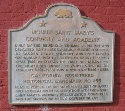 Mount Saint Mary's Convent and Academy Marker image. Click for full size.
