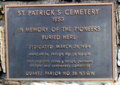 St. Patrick's Cemetery Marker image. Click for full size.