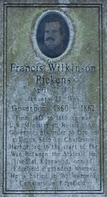 Francis Wilkinson Pickens Marker image. Click for full size.