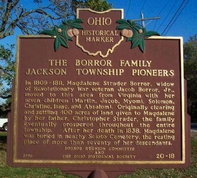 The Borror Family, Jackson Township Pioneers Marker image. Click for full size.