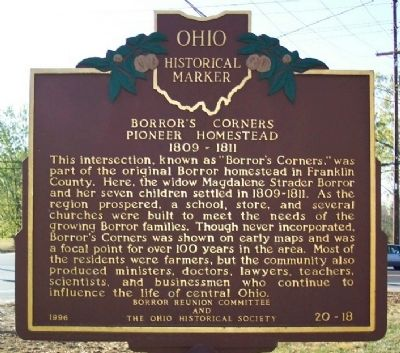 Borror's Corners Pioneer Homestead 1809 - 1811 Marker image. Click for full size.