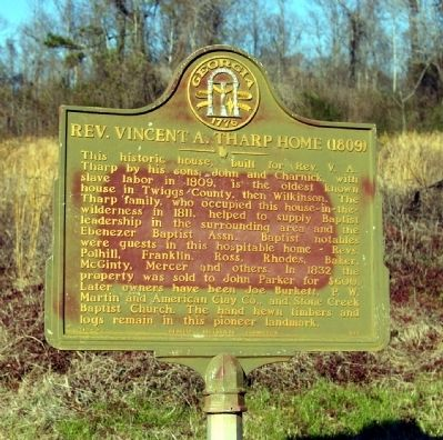 Rev. Vincent A. Tharp Home (1809) Marker image. Click for full size.