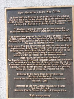 New Almaden's Civil War Crisis Marker image. Click for full size.