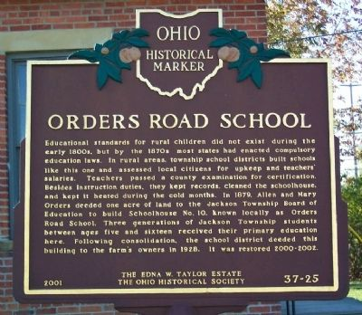 Orders Road School Marker (side A) image. Click for full size.