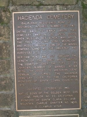Hacienda Cemetery Marker image. Click for full size.