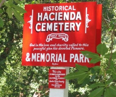 Hacienda Cemetery Sign at Entrance to Cemetery image. Click for full size.