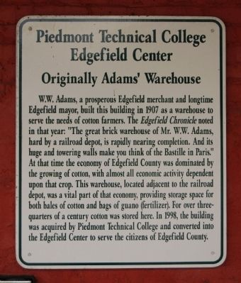 Piedmont Technical College, Edgefield Center Marker image. Click for full size.