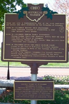 The Irish in Columbus Marker </b>(reverse) image. Click for full size.