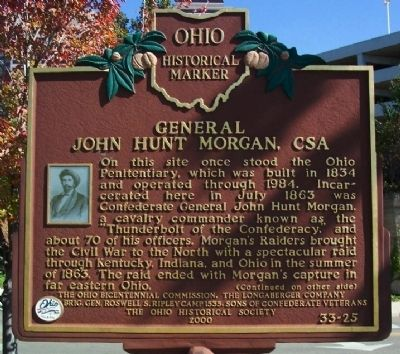 General John Hunt Morgan, CSA Marker (side A) image. Click for full size.