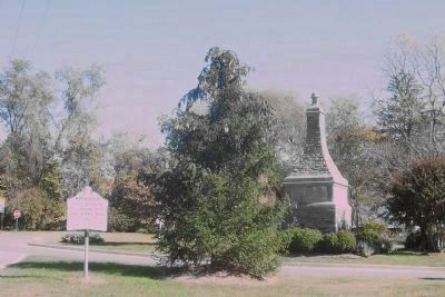 Marlborough marker, looking east with the Baltimore-Southern Maryland Trunkline monument, right image. Click for full size.