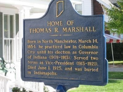 Home of Thomas R. Marshall Marker - Freshly Painted image. Click for full size.
