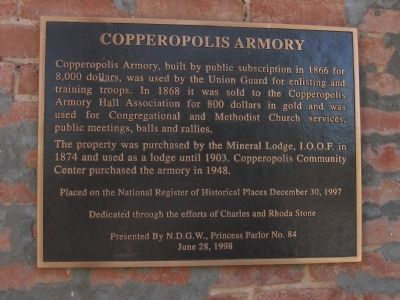 Copperopolis Armory Marker image. Click for full size.