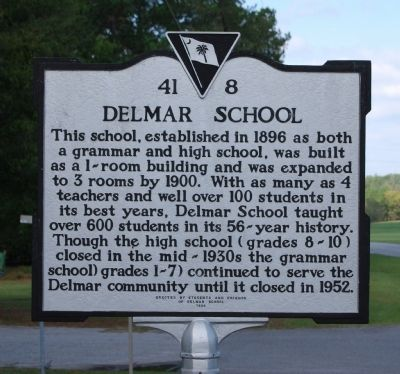 Delmar School Marker image. Click for full size.