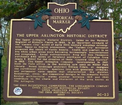 The Upper Arlington Historic District Marker image. Click for full size.