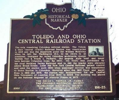 Toledo and Ohio Central Railroad Station Marker image. Click for full size.