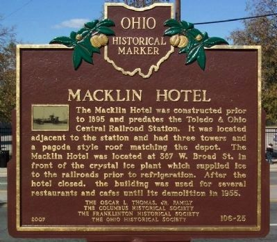 Macklin Hotel Marker image. Click for full size.