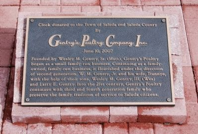 Clock Donated to the Town of Saluda and Saluda County Marker image. Click for full size.