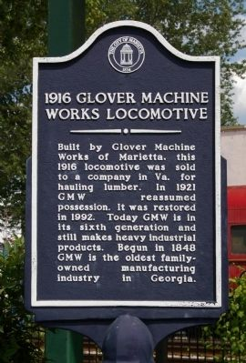 1916 Glover Machine Works Locomotive Marker image. Click for full size.