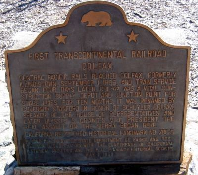 First Transcontinental Railroad Marker - Colfax image. Click for full size.