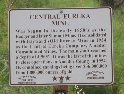 Central Eureka Mine Marker image. Click for full size.