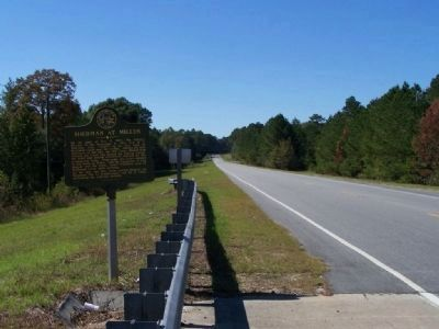 Sherman at Millen Marker, looking west along Ga 17 image. Click for full size.