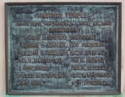 Masonic Temple Cornerstone Marker image. Click for full size.