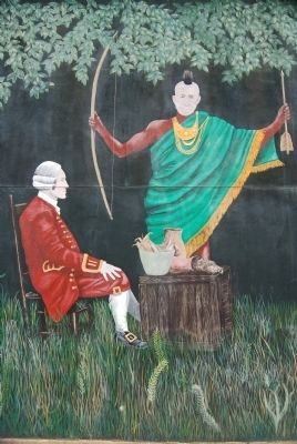 Mural Detail -<br>Colonial Governor James Glen<br>and Cherokee Chief Old Hop image. Click for full size.