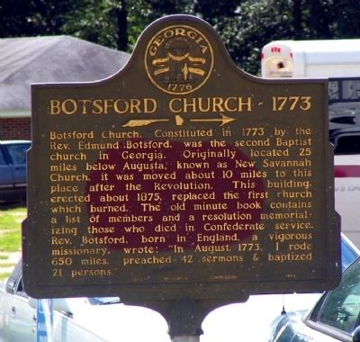 Botsford Church - 1773 Marker image. Click for full size.