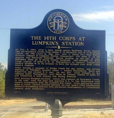 The 14th Corps at Lumpkin's Station Marker image. Click for full size.