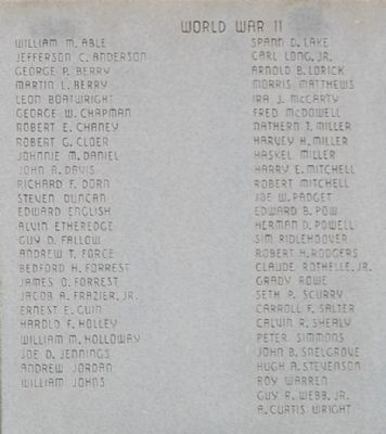 Saluda County Veterans Memorial Marker - World War II image. Click for full size.