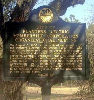Site of Planters Electric Membership Corporation Organizational Meeting Marker image. Click for full size.