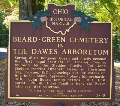 Beard-Green Cemetery in the Dawes Arboretum Marker image. Click for full size.