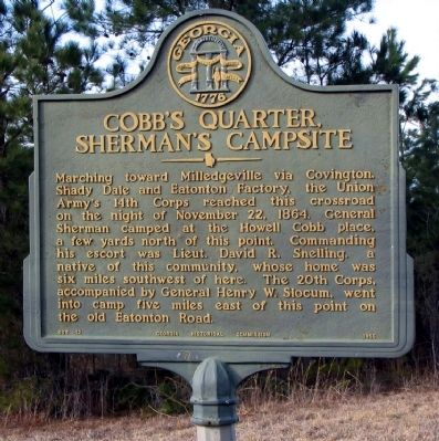 Cobb's Quarter, Sherman's Campsite Marker image. Click for full size.