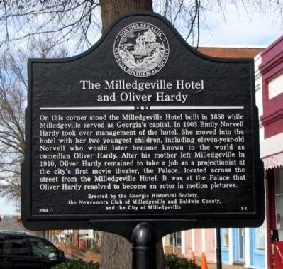The Milledgeville Hotel and Oliver Hardy Marker image. Click for full size.