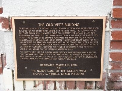 The Old Vet's Building Marker image. Click for full size.