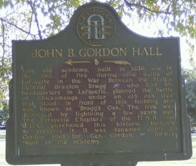 John B. Gordon Hall Marker image. Click for full size.