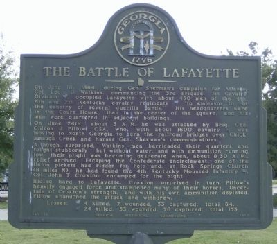 The Battle of LaFayette Marker image. Click for full size.