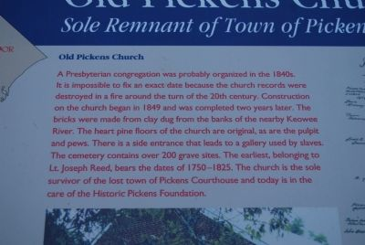 Old Pickens Church Marker image. Click for full size.