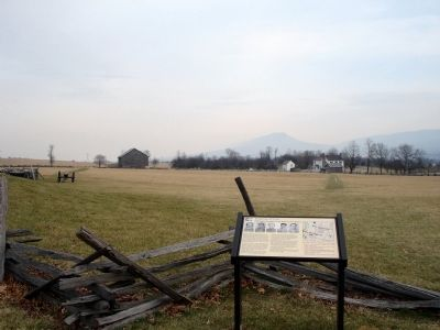 Marker with Bushong Farm in Background image. Click for full size.