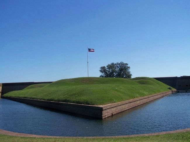 Moat fed by Feeder Canal at Fort Pulaski image. Click for full size.